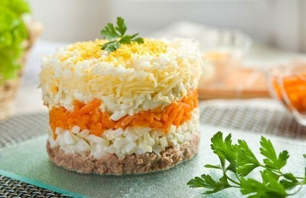 Мимоза с тунцом и рисом рецепт